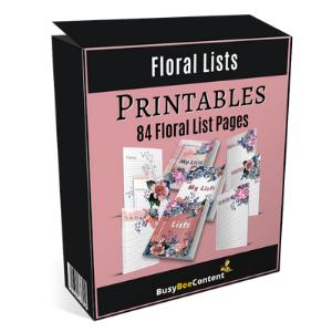 PLR Printable Floral Lists