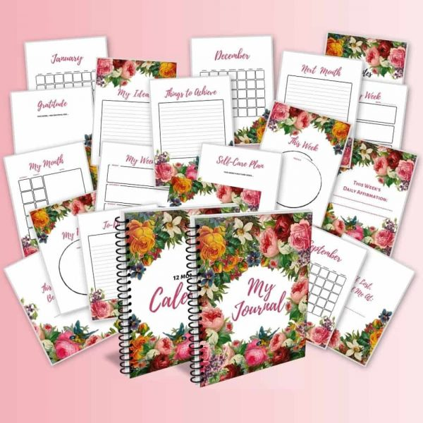pages of journal and calendar